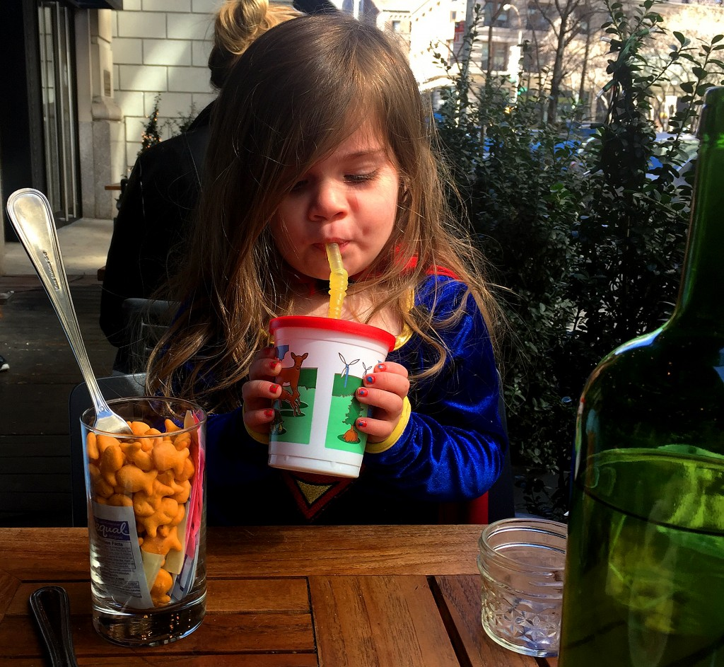 """Yes, that's a glass of goldfish and artificial sweetener....our own """"table activity"""""""
