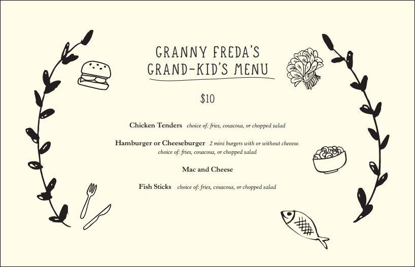 Jacks Wife Freda Kids Menu