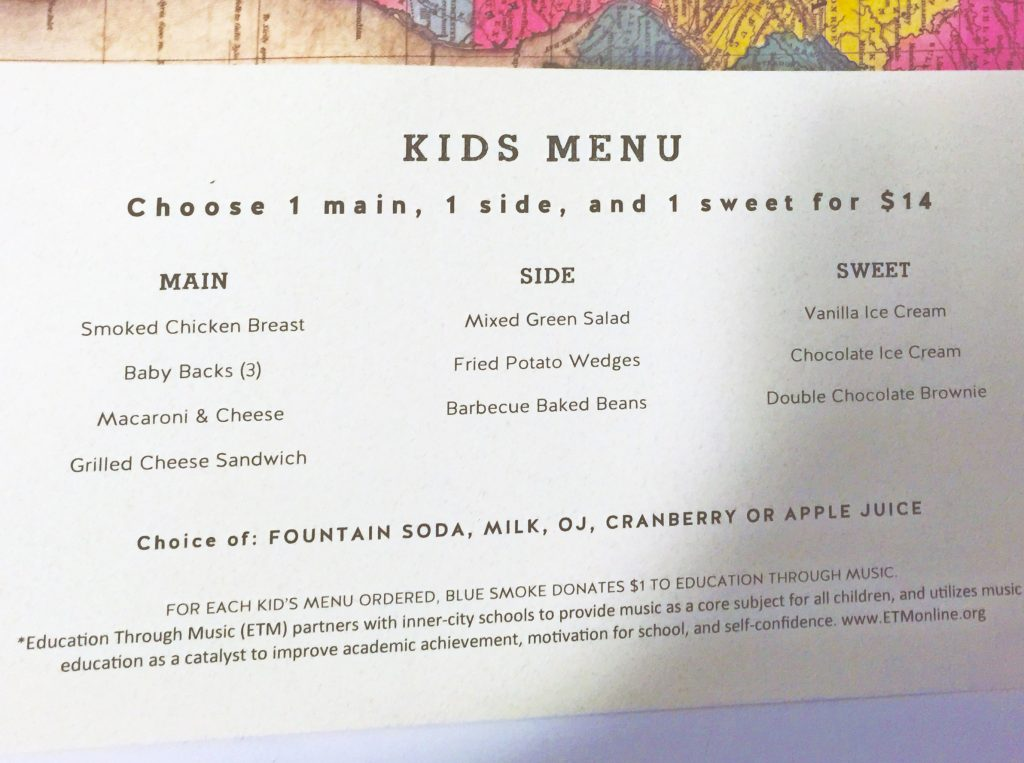 Blue Smoke kiddie menu