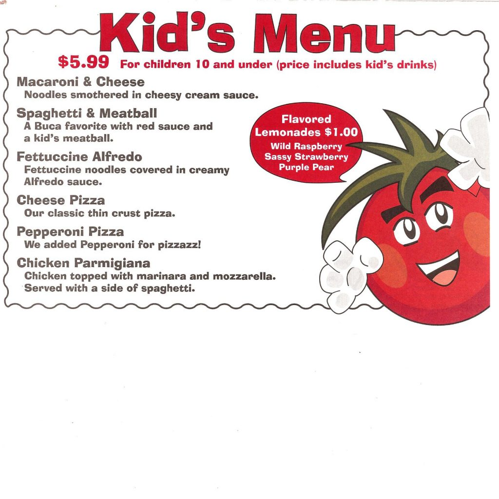 Kids menu Times Square Italian
