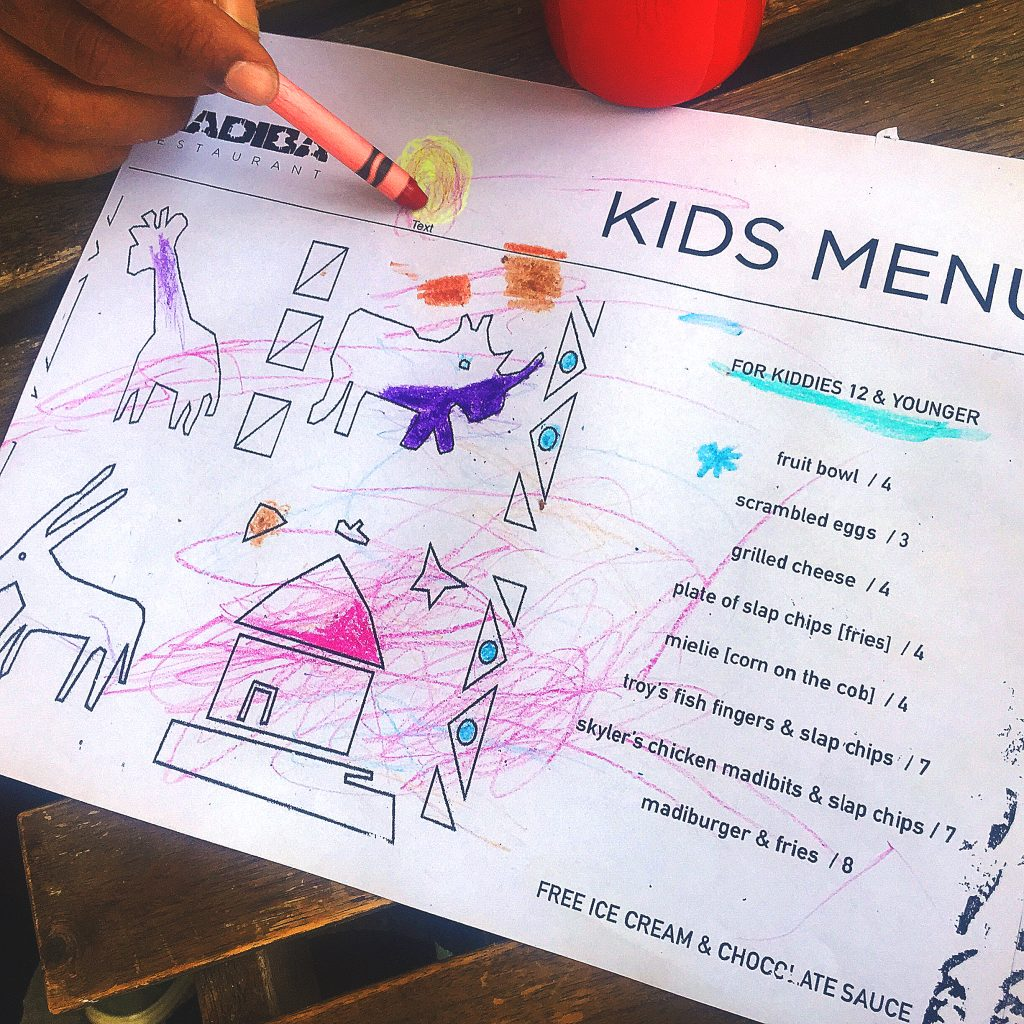 Kids Menu - free ice cream!